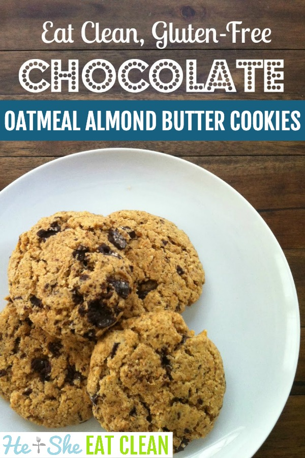 cookies on a white plate with text that reads chocolate oatmeal almond butter cookies