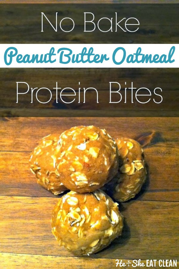 protein bites stacked on top of each other on a wooden table with text that reads no bake peanut butter oatmeal protein bites