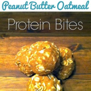 protein bites stacked on top of each other on a wooden table with text that reads no bake peanut butter oatmeal protein bites square image
