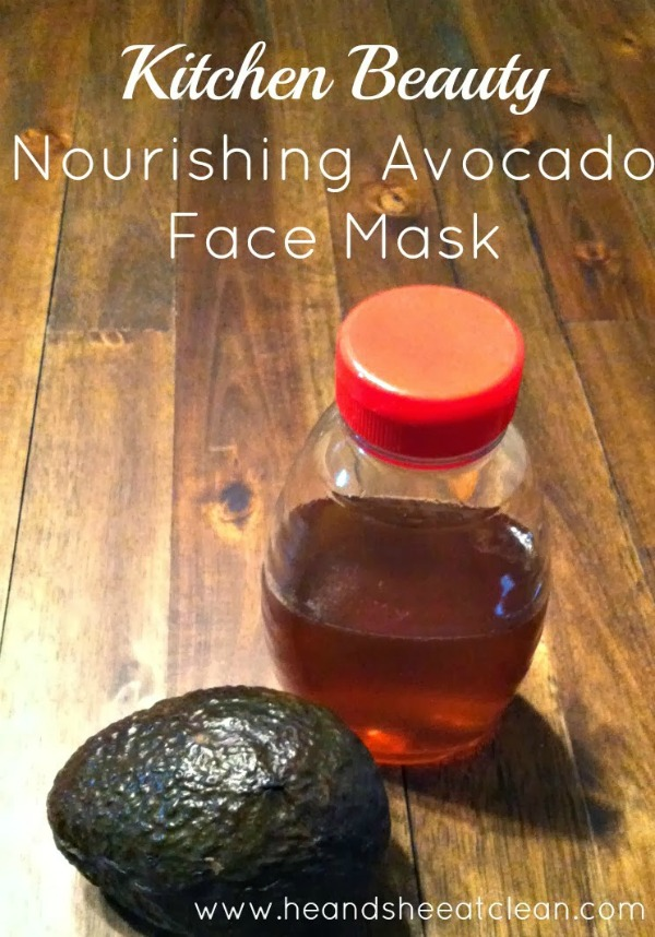 avocado and honey on a wooden table to use as a face mask