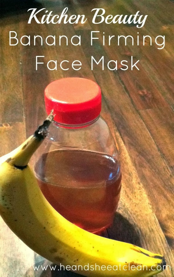 honey and banana on a wooden table to use for a face mask
