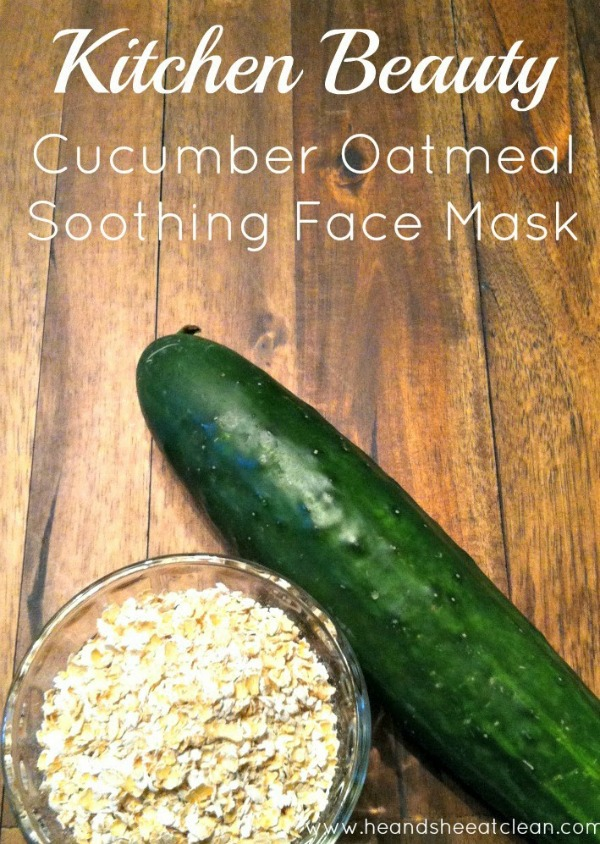 oats in a glass jar and a cucumber for a cucumber oatmeal face mask