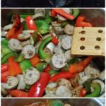 collage of how to make sausage and peppers brown rice pasta