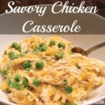 chicken, butternut squash, and green peas in a white bowl with a spoon with text that reads Savory Chicken Casserole
