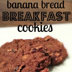 two cookies on a white plate with text that reads banana bread breakfast cookies square image