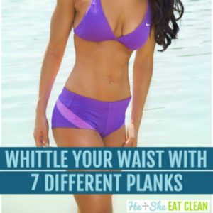 female in purple two piece swimsuit with text that reads whittle your waist with 7 different planks square image