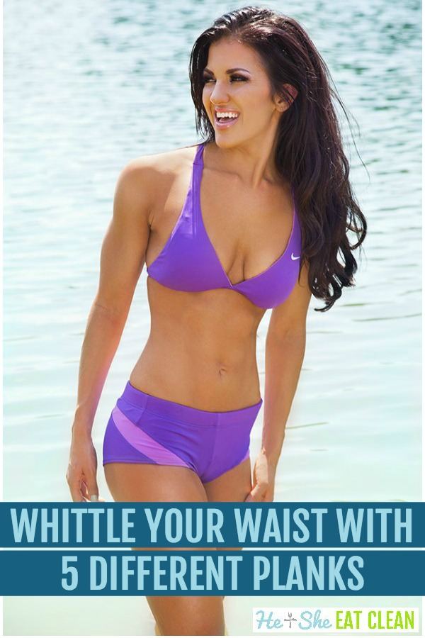 female in purple two piece swimsuit with text that reads whittle your waist with 5 different planks