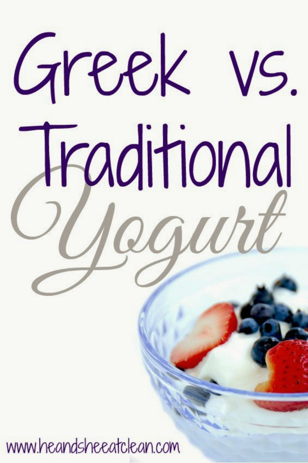 bowl of Greek yogurt topped with strawberries and blueberries with text that reads Greek vs Traditional Yogurt