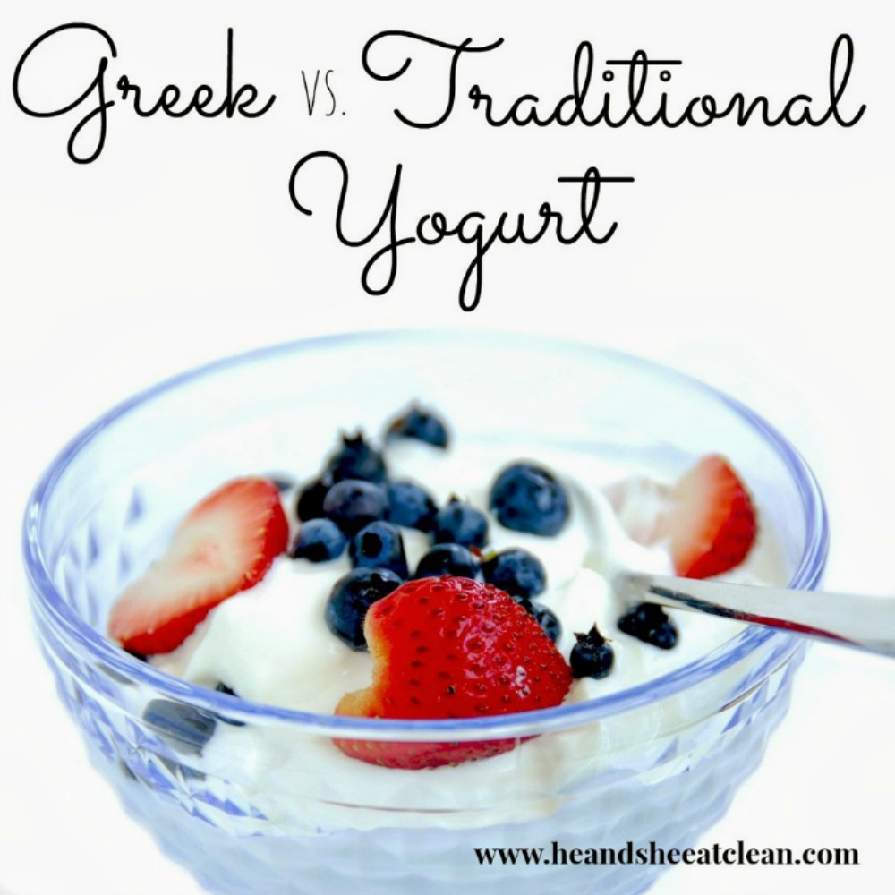 bowl of Greek yogurt topped with strawberries and blueberries with text that reads Greek vs Traditional Yogurt square image