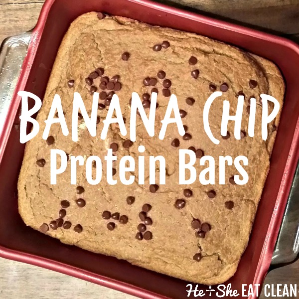 pan of protein bars with chocolate chips in a red pan on a wooden table with text that reads banana chip protein bars square image