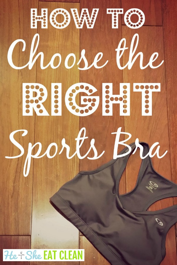sports bra on a wooden table with text that reads choose the right sports bra