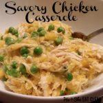 Savory Chicken Casserole in a white bowl square image