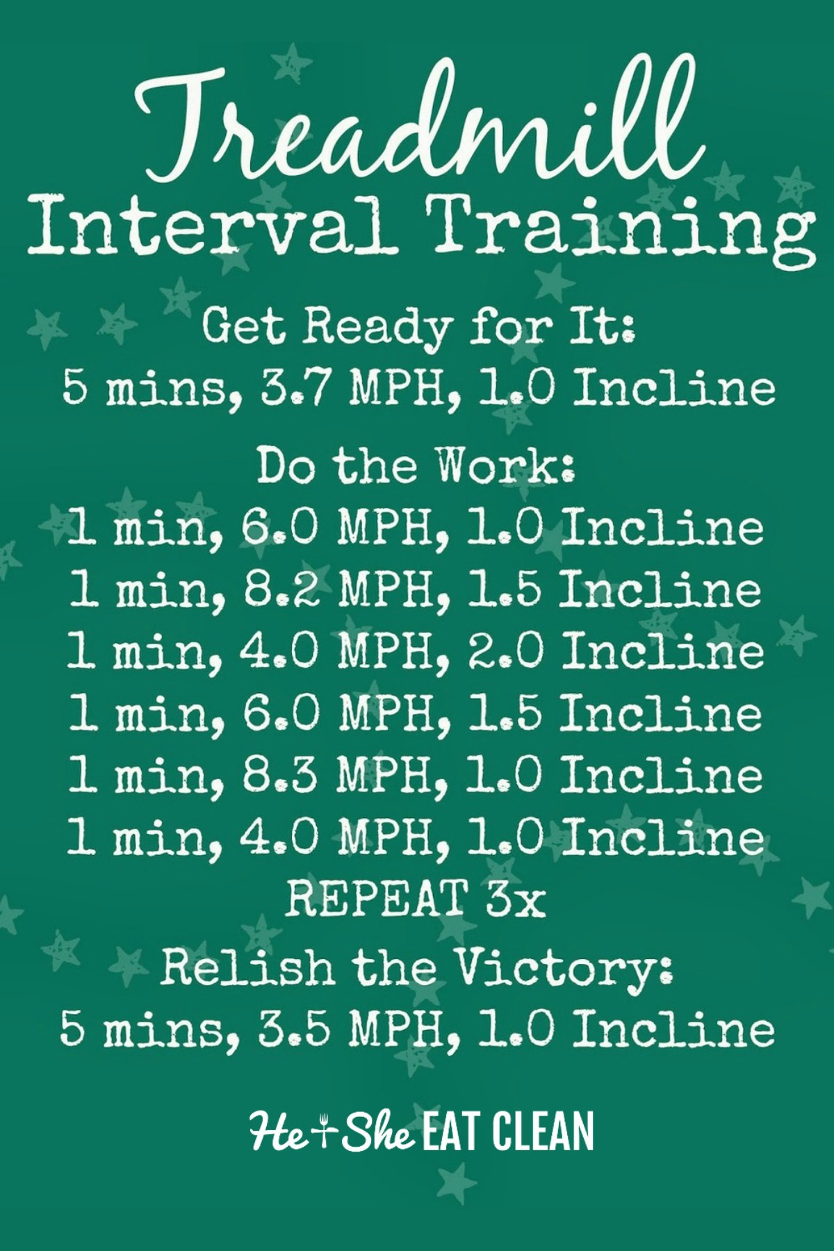 treadmill workout with speed and incline listed