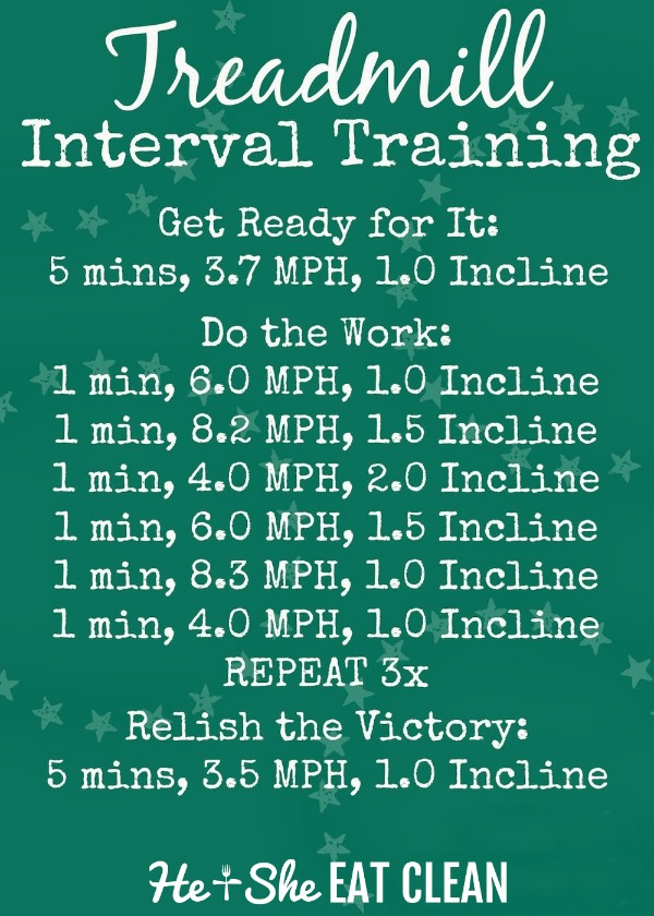 text reads calorie burner treadmill interval workout with workout listed