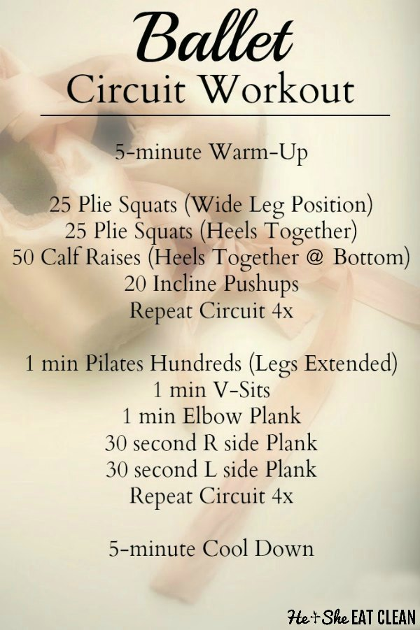 ballet shoes with text that reads ballet circuit workout with the workout listed