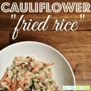 low carb cauliflower fried rice in a bowl square image