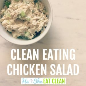 white bowl full of chicken salad on a white marble slab square image