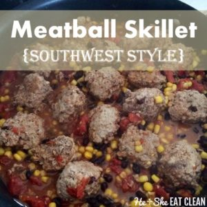 pan of meatballs with tomatoes and corn