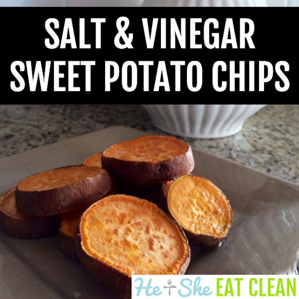 sweet potato chips on a beige plate with text that reads salt & vinegar sweet potato chips