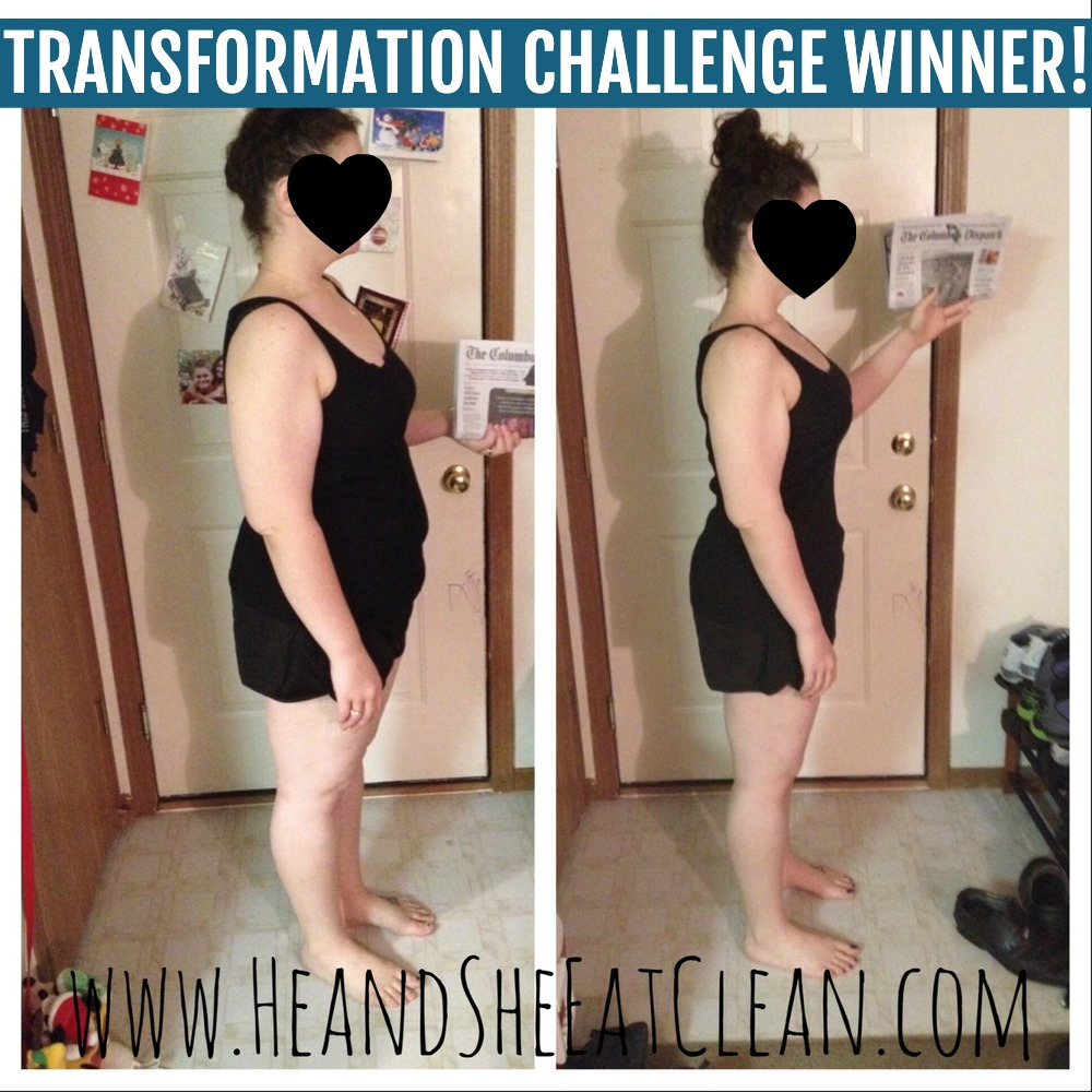 before & after side photo of female weight loss