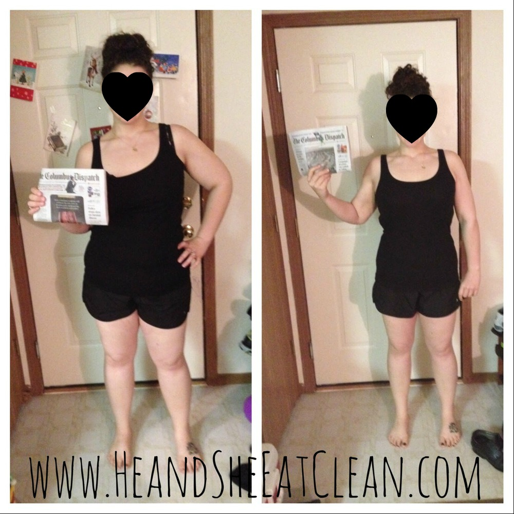 before & after front photo of female weight loss