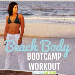 female standing behind a surfboard with text that reads beach body boot camp workout