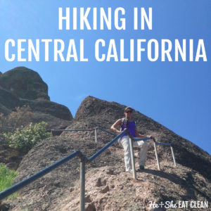 female hiker standing on large rock mountain text reads hiking in central California