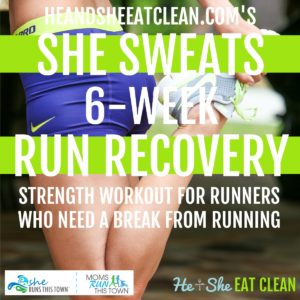 female doing a hamstring stretch with text that reads She Sweats 6-Week Run Recovery square image