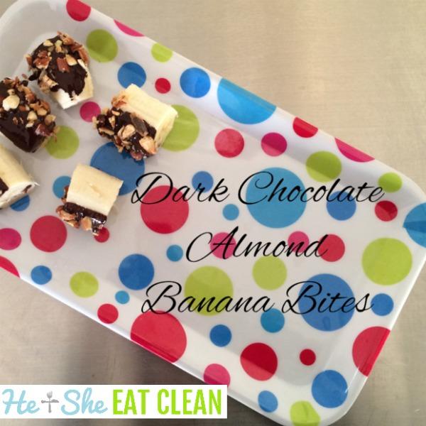 banana bites with chocolate on a polka dot plate