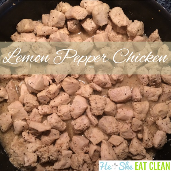 pan of chicken with text that reads lemon pepper chicken