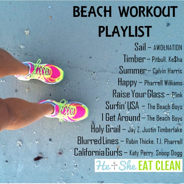 female with bright neon running shoes on sand with a beach workout playlist