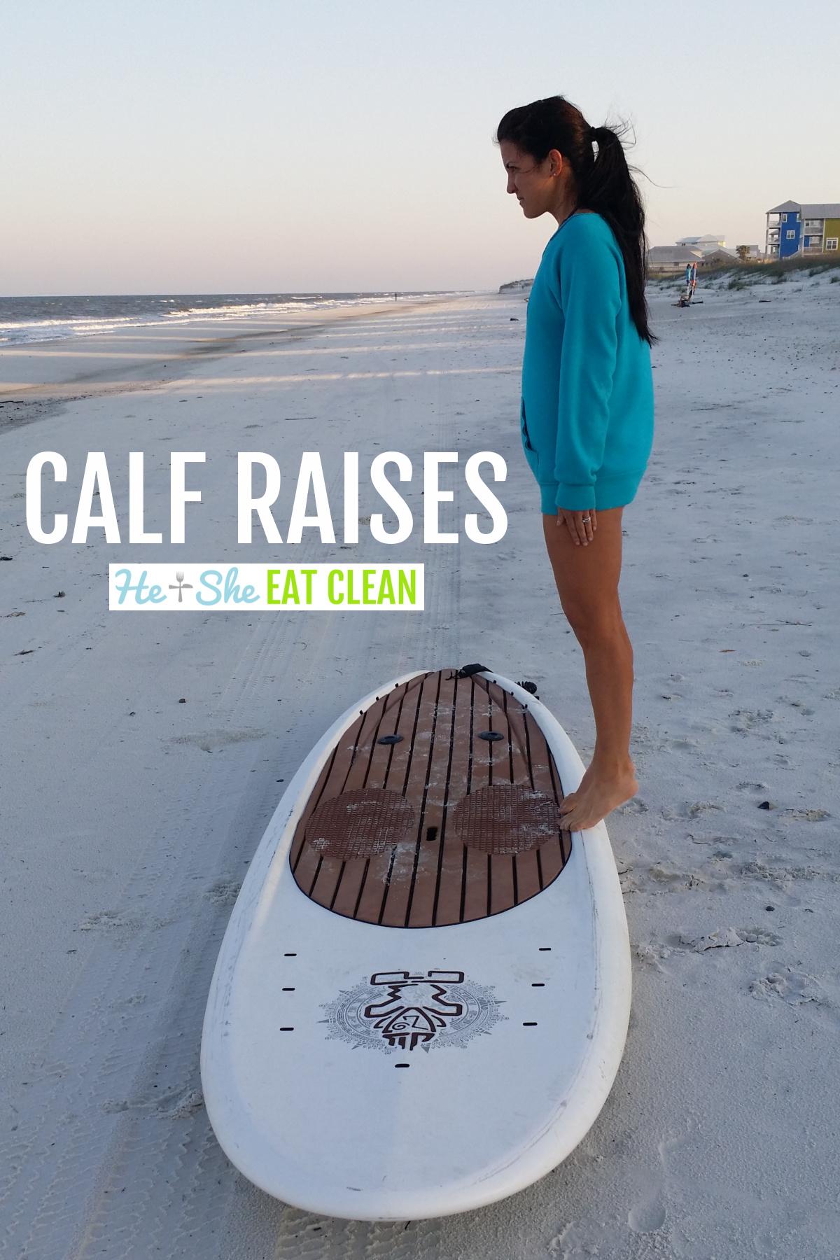 female doing calf raises on a paddleboard on the beach