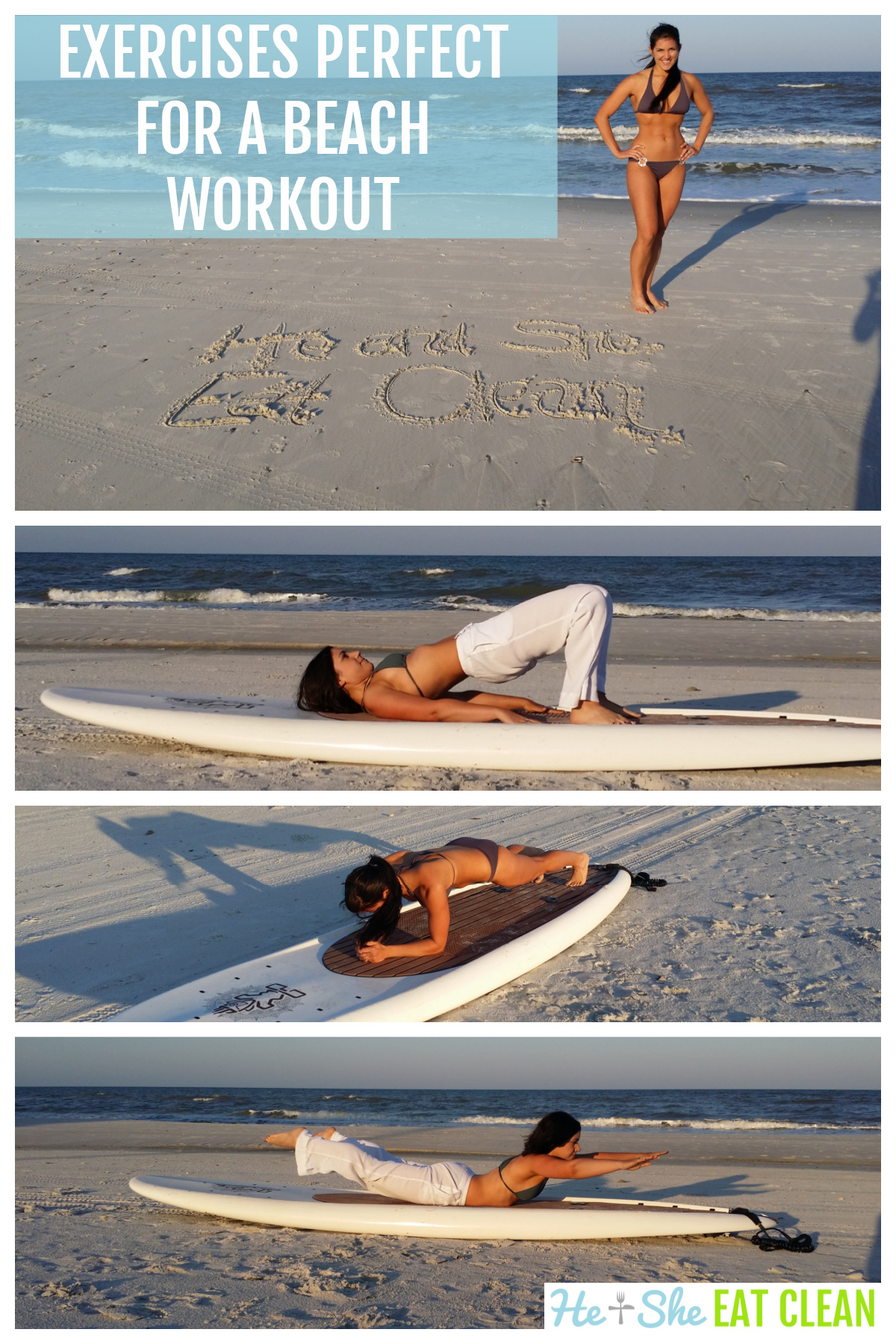 collage of a female doing exercises on a beach