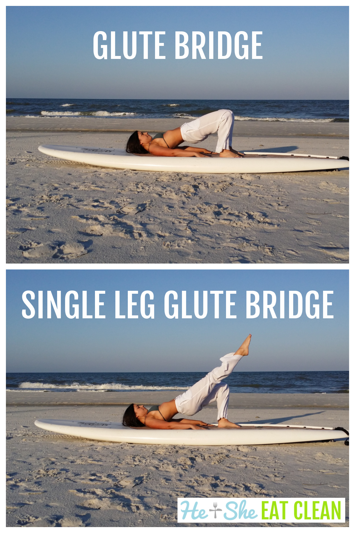 collage of 2 images of female on a paddleboard doing a glute bridge and single leg glute bridge