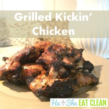 grilled chicken thighs piled on a beige plate with text that reads grilled kickin chicken square image