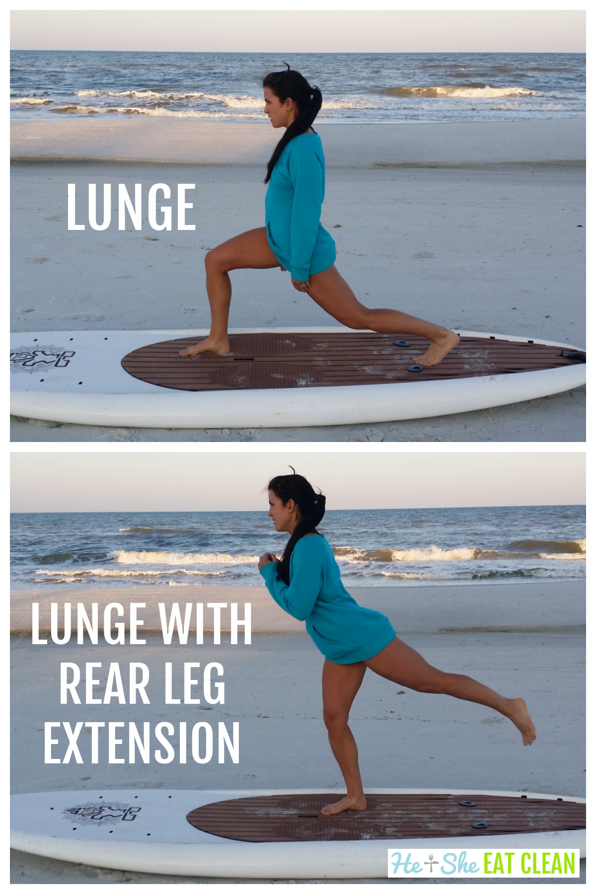 2 picture collage of female in sweatshirt doing a lunge and lunge with rear leg extension
