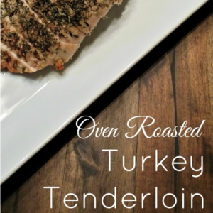 roasted turkey tenderloin on a white plate with text that reads roasted turkey tenderloin square image
