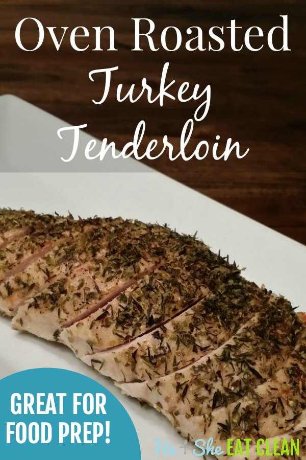 roasted turkey tenderloin on a white plate with text that reads roasted turkey tenderloin