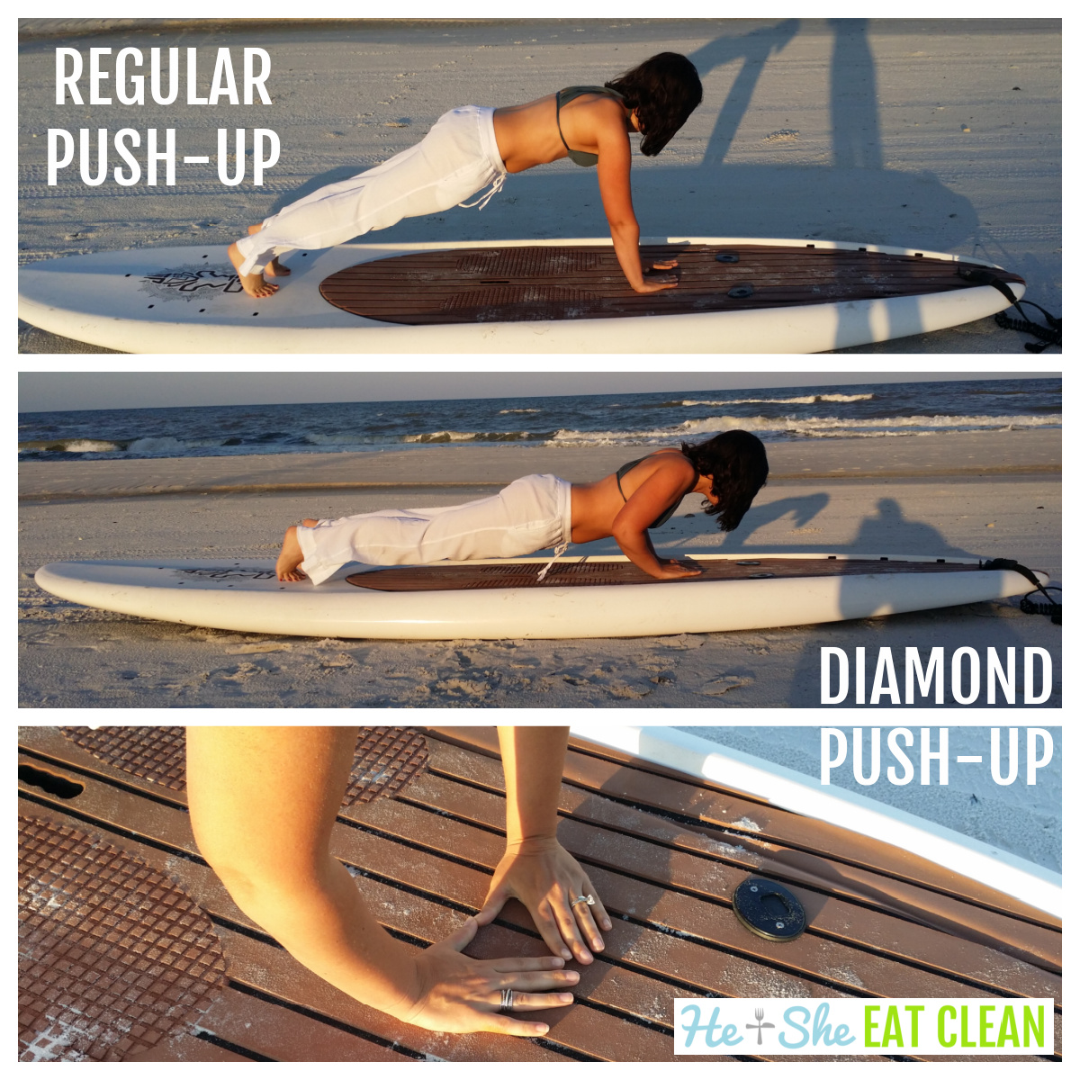 collage of female doing push-ups on a paddleboard on the beach