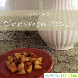 sauteed apples with cinnamon on a red plate