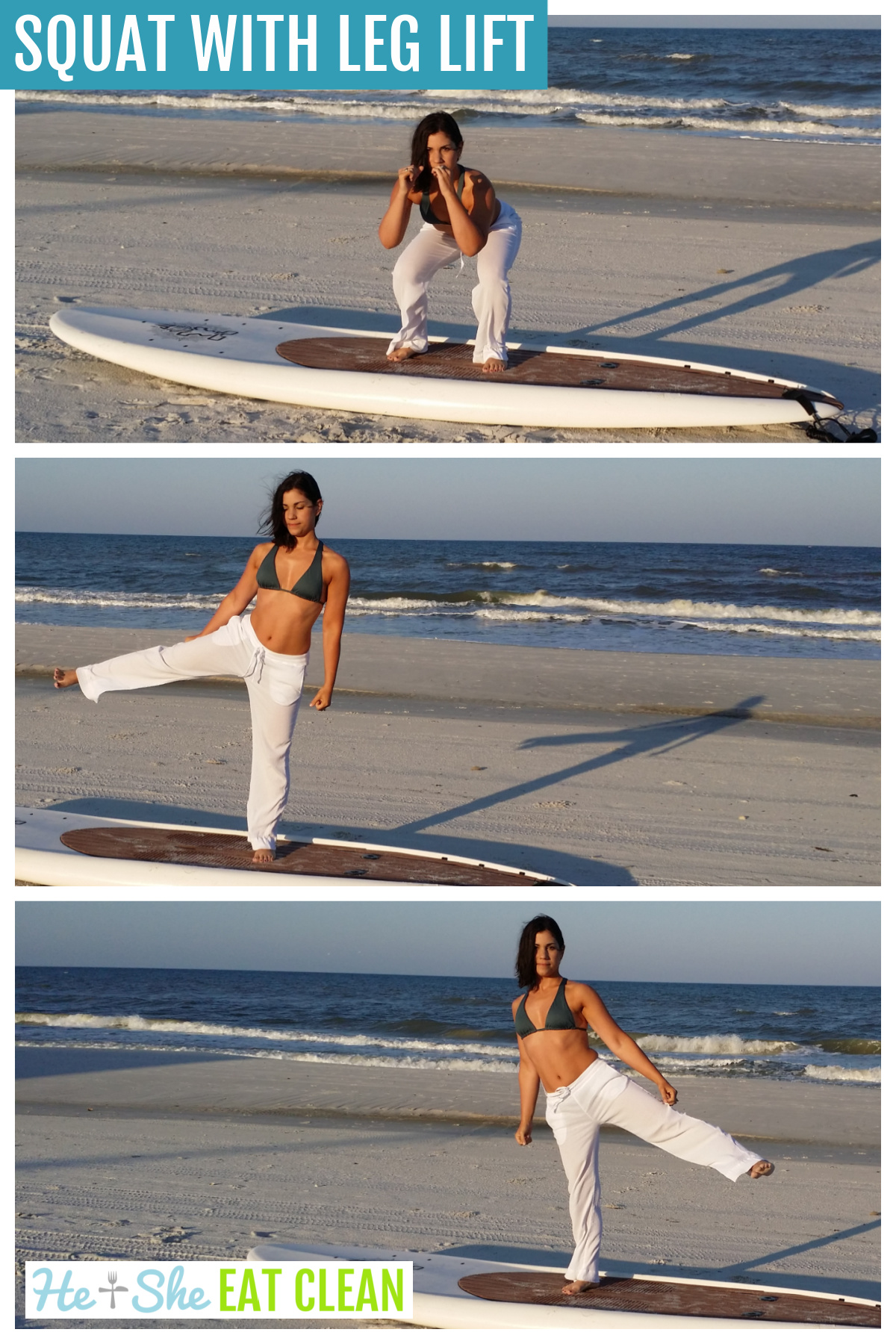 collage of 3 images of a female in a swimsuit top doing a squat on a paddleboard