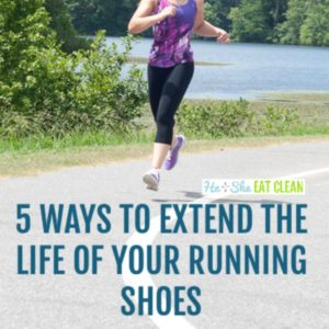 female running with text that reads 5 ways to extend the life of your running shoes square image