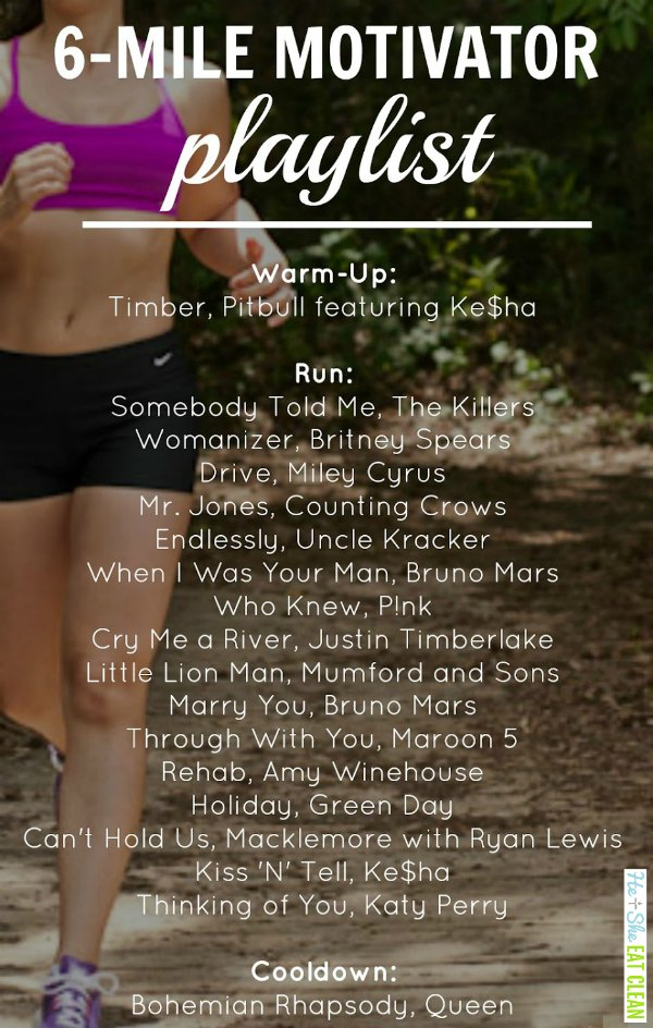 text reads 6 mile motivator playlist with songs listed