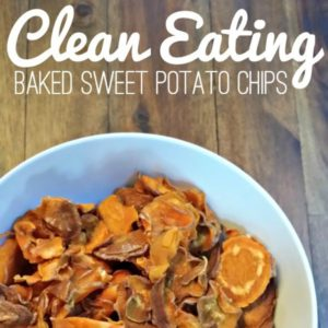 white plate of sweet potato chips with text that reads baked sweet potato chips square