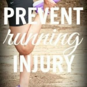female stretching hamstring with text that reads 5 Ways to Prevent Running Injury square image