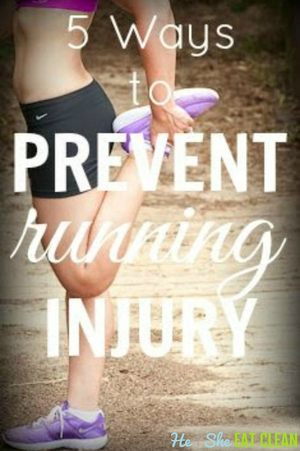 female stretching hamstring with text that reads 5 Ways to Prevent Running Injury