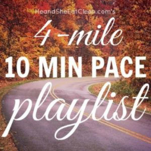 tree lined road with yellow and orange trees leaves with text that reads 4 miles 10 minute pace playlist