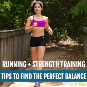girl running in a pink sports bra and black shorts with text that reads running + strength training tips to find the perfect balance square image