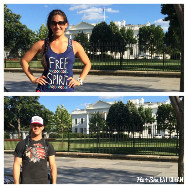 male and female standing in front of the white house