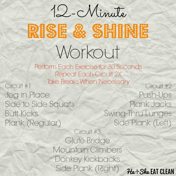 12-Minute Rise & Shine Workout Listed